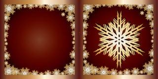 De gouden Sneeuwvlok van de kaart van Groeten Stock Afbeeldingen