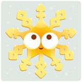 De gouden sneeuwvlok van de Kerstmisdecoratie Royalty-vrije Stock Foto
