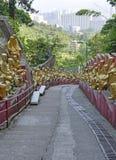 De gouden standbeelden van Boedha bij het Klooster van Tienduizendtalbuddhas, Hong Kong Royalty-vrije Stock Fotografie