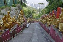De gouden standbeelden van Boedha bij het Klooster van Tienduizendtalbuddhas, Hong Kong Stock Afbeelding
