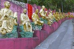 De gouden standbeelden van Boedha bij het Klooster van Tienduizendtalbuddhas, Hong Kong Stock Foto