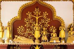 De gouden Standbeelden van Boedha, Wat Khunaram Temple, Koh Samui, Thailand Royalty-vrije Stock Foto's