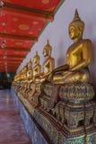 De gouden standbeelden van Boedha in Wat Pho Kaew, Bangkok, Thailand Stock Foto