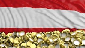 De gouden stapel van bierkappen op Oostenrijkse vlag backgroun 3D Illustratie Stock Fotografie