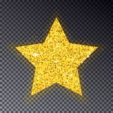 De gouden ster van Kerstmis Grote gouden ster voor spar Fonkeling met velen weinig cirkel, met licht effe vector illustratie