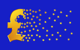 De Gouden Sterren van pondsterling sign falling apart to over Blauwe Achtergrond Royalty-vrije Stock Foto's
