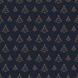 De gouden stijl van het kerstboompatroon op zwarte achtergrond voor Kerstmisverkoop Stock Fotografie