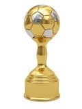 De gouden trofee van de voetbalbal op voetstuk Stock Fotografie