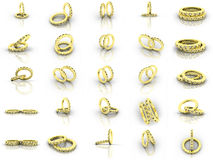 De gouden trouwringen van de stoom Stock Foto's