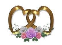 De gouden Valentijnskaart van Harten en van Rozen Royalty-vrije Stock Fotografie