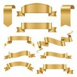 De gouden van de de bannervlag van de lintband van de de boog klassieke glanzende rol vectorillustratie vector illustratie
