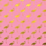 De gouden van de Flamingofaux van het Flamingo'spatroon Folie Polk Dots Pink Stock Afbeelding
