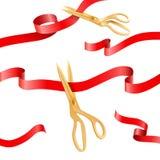 De gouden van de zijdelinten van de schaar scherpe ceremonie vectorelementen voor het openen van gebeurtenisconcept vector illustratie
