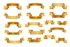 De gouden vector geplaatste banners van de premieverkoop Stock Afbeelding