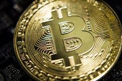 De gouden virtuele munt van Bitcoin op een achtergrond van de kringsraad royalty-vrije stock fotografie