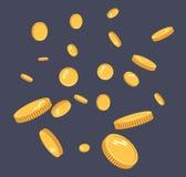 De gouden vlakke vector van de muntstukkenexplosie Gouden muntstukkenpatroon met het effect die in de lucht in een beeldverhaalst stock illustratie