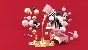 De gouden vloeibare verven die van roze spuiten kunnen onder de kleurrijke ballen op de rode achtergrond stock illustratie