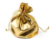De gouden zak van de gift met een verrassing royalty-vrije stock afbeelding