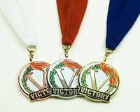 De gouden Zilveren Medaille van het Brons Royalty-vrije Stock Afbeeldingen
