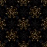 De gouden zwarte achtergrond van het mandala naadloze patroon royalty-vrije illustratie