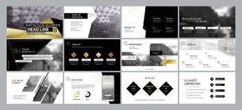 De gouden zwarte elementen van presentatiemalplaatjes op een witte achtergrond Royalty-vrije Stock Afbeeldingen