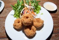 De goudklompjes en de groenten van Fried Shrimp Royalty-vrije Stock Afbeeldingen