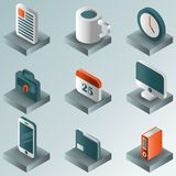 De gradiënt isometrische pictogrammen van de bureaukleur Royalty-vrije Stock Foto