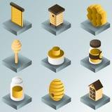 De gradiënt isometrische pictogrammen van de honingskleur Royalty-vrije Stock Afbeeldingen