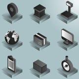 De gradiënt isometrische pictogrammen van de logistiekkleur Royalty-vrije Stock Fotografie