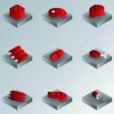 De gradiënt isometrische pictogrammen van de vleeskleur Stock Afbeeldingen
