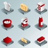 De gradiënt isometrische pictogrammen van de wasserijkleur Stock Foto's