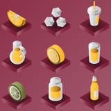 De gradiënt isometrische reeks van de limonadekleur Royalty-vrije Stock Foto
