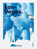De gradiënt van de de horizonstad van de V.S. de Verenigde Staten van Amerika Las Vegas vec Stock Afbeeldingen