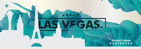 De gradiënt van de de horizonstad van de V.S. de Verenigde Staten van Amerika Las Vegas vec Royalty-vrije Stock Fotografie