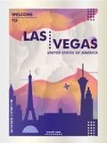 De gradiënt van de de horizonstad van de V.S. de Verenigde Staten van Amerika Las Vegas vec Stock Afbeelding