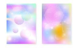De gradiënt van Memphis met vloeibare vormen wordt geplaatst die Dynamische holografische vloeistof met bauhausachtergrond stock illustratie
