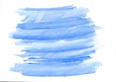 De gradiënthand getrokken achtergrond van de hemel blauwe horizontale waterverf Stock Foto