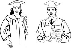 De graduatie van de middelbare school Stock Foto
