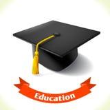 De graduatiehoed van het onderwijspictogram Stock Afbeeldingen