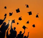 De Graduatiestudent Success Concept van het vieringsonderwijs Stock Foto