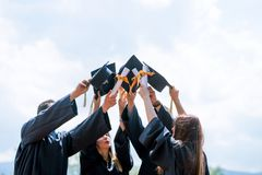 De Graduatiestudent Success Learning Concep van het vieringsonderwijs royalty-vrije stock afbeeldingen