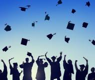 De Graduatiestudent Success Learning Concep van het vieringsonderwijs Stock Foto's