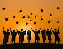 De Graduatiestudent Success Learning Concep van het vieringsonderwijs stock fotografie