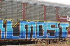 De graffiti van de spoorweggoederenwagon Stock Foto's