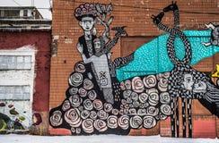 De graffiti van de straatmuur in Minsk Wit-Rusland royalty-vrije stock fotografie