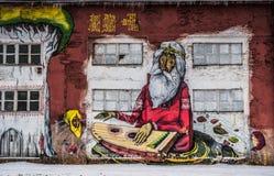 De graffiti van de straatmuur in Minsk Wit-Rusland stock foto's