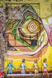 De graffiti van de straatmuur in Minsk Wit-Rusland stock afbeelding
