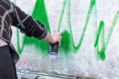 De graffiti wordt bespoten op de muur Royalty-vrije Stock Foto