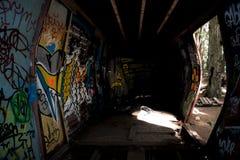 De graffititrein veroorzaakt in Fluiter Royalty-vrije Stock Afbeeldingen