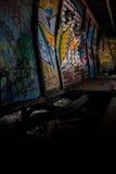 De graffititrein veroorzaakt in Fluiter Royalty-vrije Stock Foto